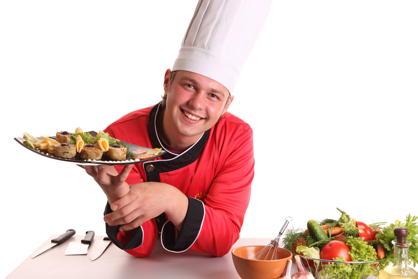 шеф повар кухня png белый фон овощи стол шапка повара шеф су-шеф